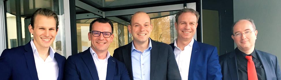 De organisatoren van het event: v.l.n.r. Alain Luxemborg (Barracuda), Johan van Winden (ditp), Jan van Wijgerden (Tredion ICT & Telecom), Joost Merkx (IT Support Groep) en Wim Verveen (Ormer ICT)